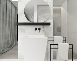 Mieszkanie w Katowicach, Francuska Park - Mała łazienka w bloku w domu jednorodzinnym z oknem - zdjęcie od Superpozycja Architekci Dominika Trzcińska