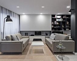 Mieszkanie w Katowicach_70m2 - Średni biały czarny salon, styl minimalistyczny - zdjęcie od Superpozycja Architekci Dominika Trzcińska - Homebook