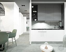 Mieszkanie w Katowicach, Francuska Park - Mała otwarta biała jadalnia w kuchni w salonie - zdjęcie od Superpozycja Architekci Dominika Trzcińska