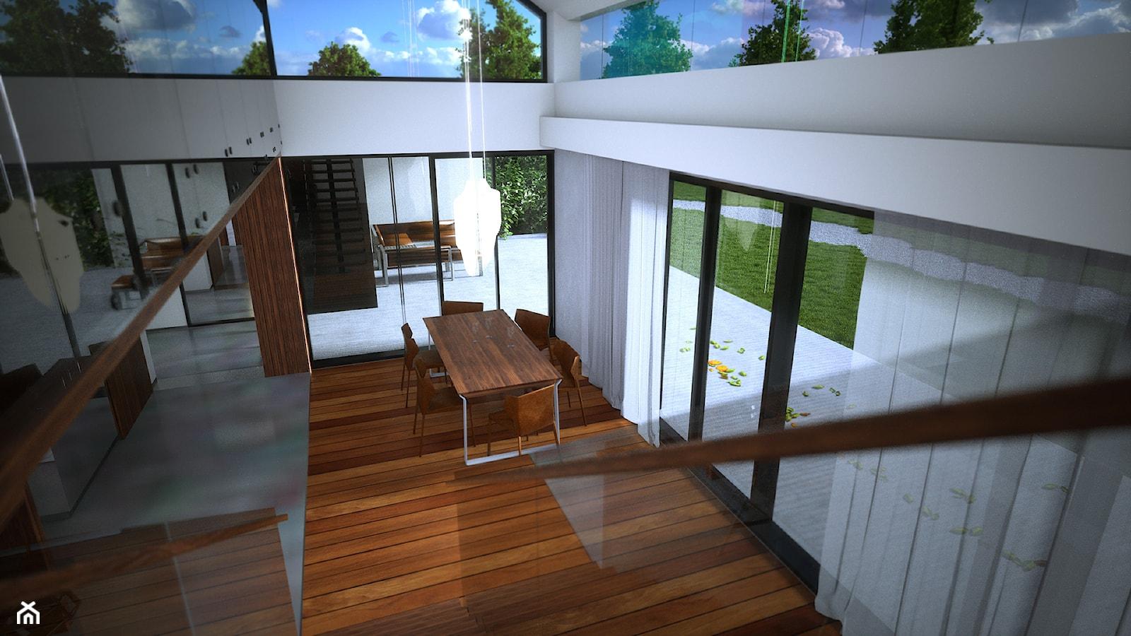 Wallhouse - Średnia otwarta biała jadalnia - zdjęcie od BAUART STUDIO Pracownia Architektury - Homebook