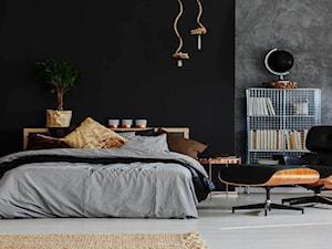 Loft na warszawskiej Pradze - Duża szara czarna sypialnia małżeńska - zdjęcie od BAUART STUDIO Pracownia Architektury