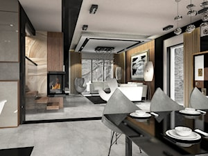 Dom pokazowy w Ożarowie - Średnia otwarta biała czarna jadalnia w salonie - zdjęcie od BAUART STUDIO Pracownia Architektury