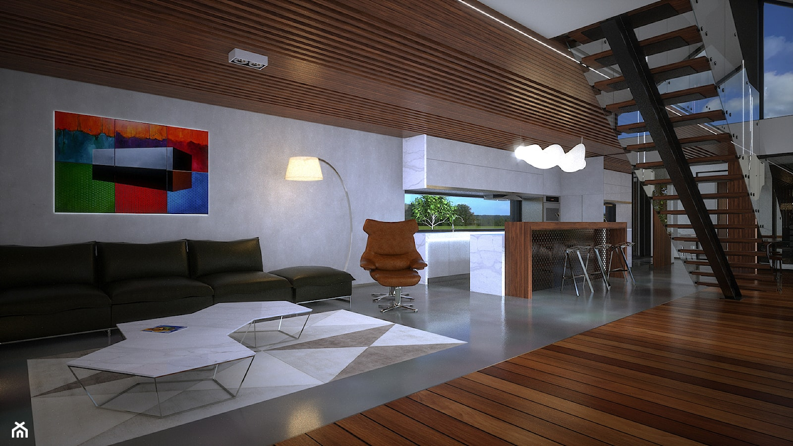 Wallhouse - Duży szary salon z kuchnią z jadalnią - zdjęcie od BAUART STUDIO Pracownia Architektury - Homebook
