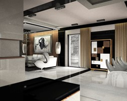 Dom pokazowy w Ożarowie - Duży biały czarny salon z barkiem z kuchnią z jadalnią z tarasem / balkonem - zdjęcie od BAUART STUDIO Pracownia Architektury