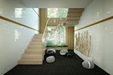 pokój z czarną podłogą i jasnymi schodami z drewna