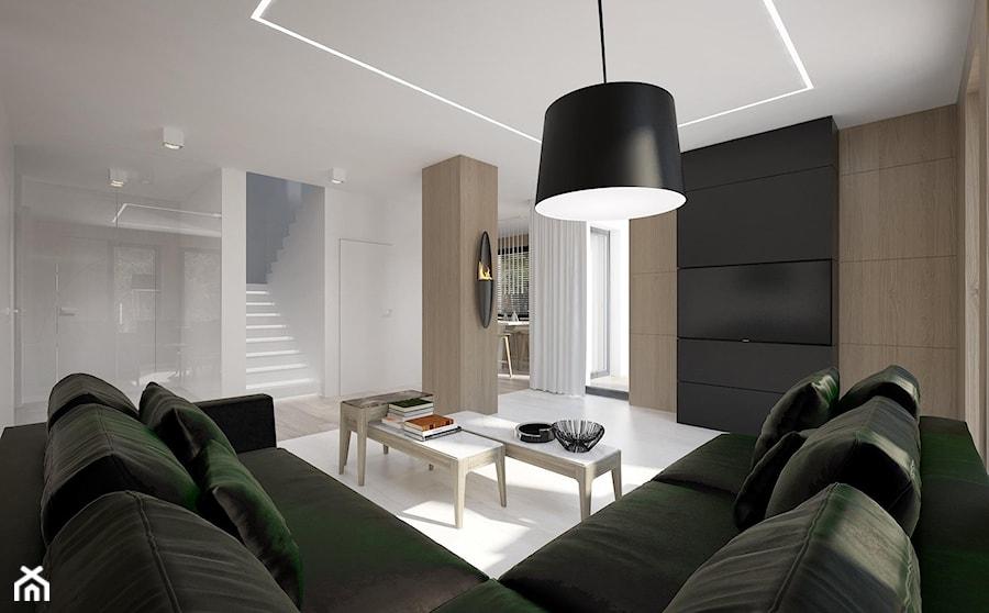 Dom w woj. małopolskim - Średni biały czarny salon, styl nowoczesny - zdjęcie od Concept