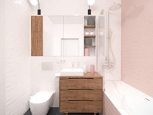 Różowa łazienka w stylu retro. - zdjęcie od Studio Monocco