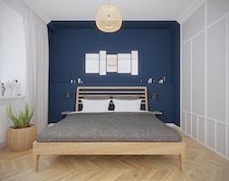 Mokotów - 55 m.² - Średnia biała niebieska sypialnia małżeńska, styl skandynawski - zdjęcie od Studio Monocco
