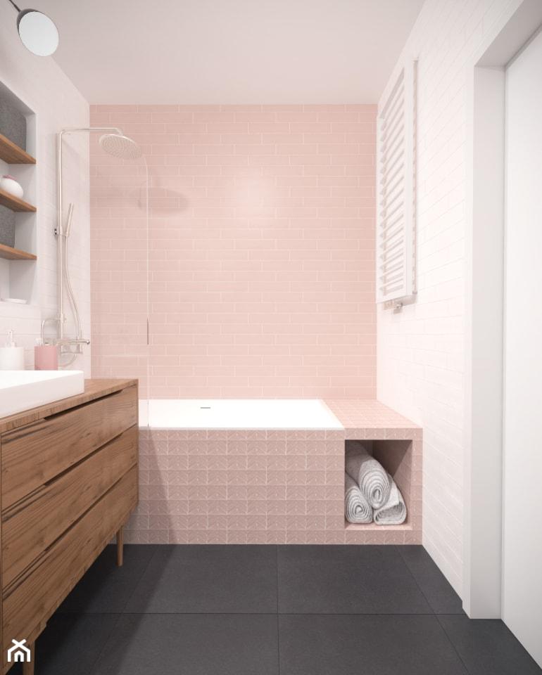 Aranżacje wnętrz - Łazienka: Retro łazienka z różowymi płytkami na ścianie. - Studio Monocco. Przeglądaj, dodawaj i zapisuj najlepsze zdjęcia, pomysły i inspiracje designerskie. W bazie mamy już prawie milion fotografii!