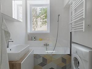 Mokotów - 64m² - Średnia beżowa łazienka w domu jednorodzinnym z oknem, styl skandynawski - zdjęcie od Studio Monocco
