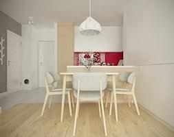 Służew - 38m² - Mała otwarta biała jadalnia w salonie, styl skandynawski - zdjęcie od Studio Monocco
