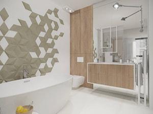 Wilanów - 140 m² - Średnia biała łazienka na poddaszu w bloku w domu jednorodzinnym z oknem, styl minimalistyczny - zdjęcie od Studio Monocco