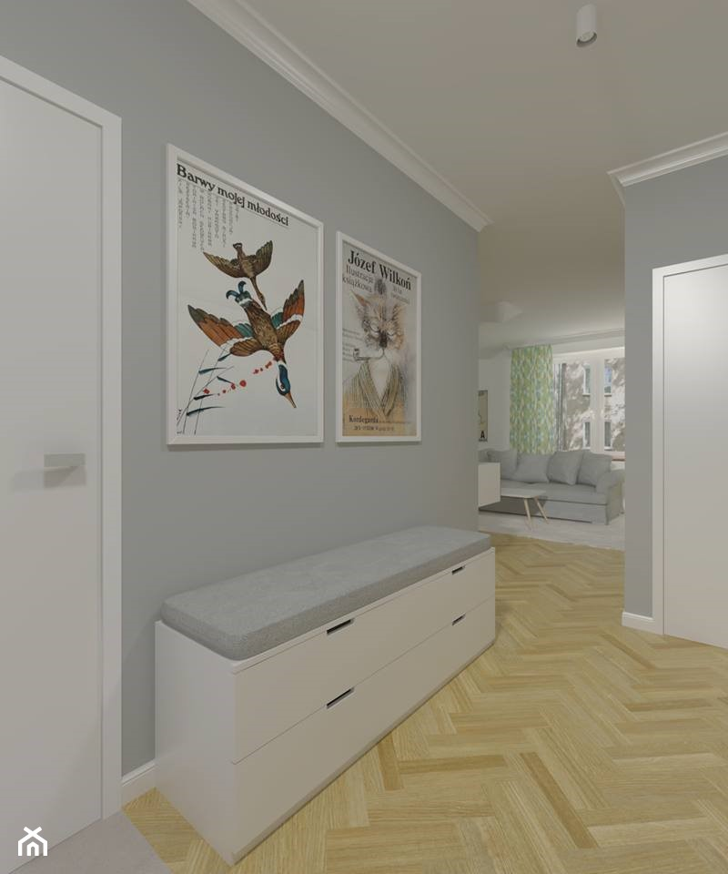Mokotów - 64m² - Średni szary hol / przedpokój, styl skandynawski - zdjęcie od Studio Monocco - Homebook
