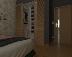 Garderoba za żaluzjowymi drzwiami. - zdjęcie od Studio Monocco