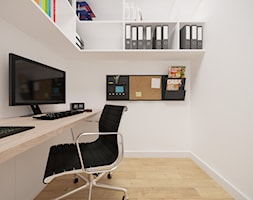 Bemowo - 90 m² - Małe białe biuro domowe w pokoju, styl nowoczesny - zdjęcie od Studio Monocco