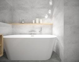 Sadyba - 65m2. - Mała szara łazienka w bloku bez okna, styl minimalistyczny - zdjęcie od Studio Monocco