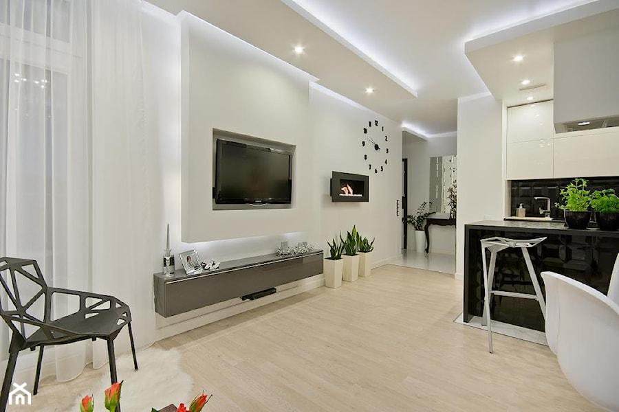 Nowoczesne mieszkanie w Gdańsku - Mały salon z kuchnią, styl nowoczesny - zdjęcie od SIMPLY DESIGN