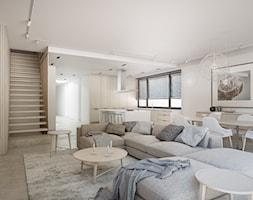 Apartament w Warszawie - Mały szary salon z kuchnią z jadalnią, styl nowoczesny - zdjęcie od EXITDESIGN