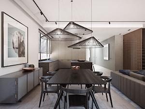 Apartament na warszawskim Mokotowie - Mały szary salon z kuchnią z jadalnią, styl nowoczesny - zdjęcie od EXITDESIGN