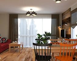 DOM ZA MIASTEM - Średni beżowy salon z jadalnią, styl rustykalny - zdjęcie od Izabela Widomska Wnętrza