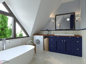 ŁAZIENKA NA PODDASZU Z WANNĄ WOLNOSTOJĄCĄ - Średnia biała beżowa łazienka na poddaszu w domu jednorodzinnym jako salon kąpielowy z oknem, styl włoski - zdjęcie od Izabela Widomska Wnętrza
