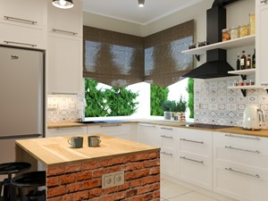 DOM ZA MIASTEM - Średnia otwarta biała kuchnia w kształcie litery l z wyspą z oknem, styl tradycyjny - zdjęcie od Izabela Widomska Wnętrza