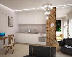 EKO KAWALERKA - Średnia otwarta szara kuchnia jednorzędowa w aneksie z oknem, styl skandynawski - zdjęcie od Devangari Design