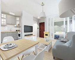 KAWALERKA 32M² – KAMIONEK - Mały szary biały salon z kuchnią z jadalnią, styl rustykalny - zdjęcie od Devangari Design