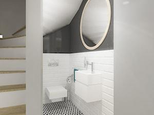 DOM 73M² – LUBOŃ K.POZNANIA - Mała biała czarna łazienka na poddaszu w bloku w domu jednorodzinnym bez okna, styl skandynawski - zdjęcie od Devangari Design