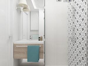 KAWALERKA 32M² – KAMIONEK - Mała biała łazienka w bloku bez okna, styl rustykalny - zdjęcie od Devangari Design