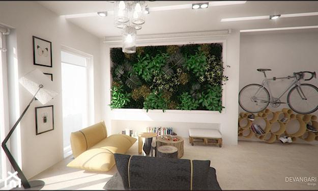 ogród wertykalny w sypialni, jasne ściany
