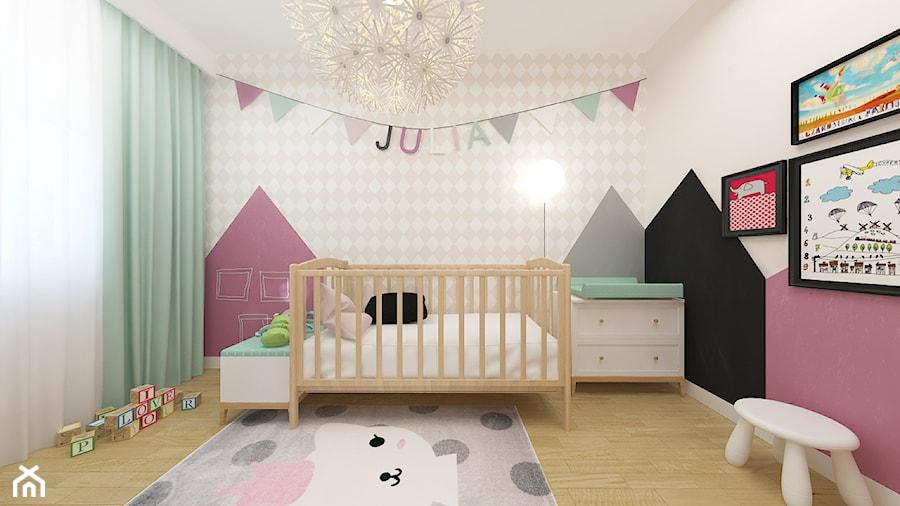 DOM 73M² – LUBOŃ K.POZNANIA - Średni biały szary beżowy różowy czarny pokój dziecka dla dziewczynki dla niemowlaka, styl skandynawski - zdjęcie od Devangari Design