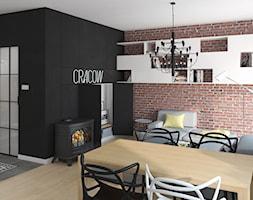 KAWALERKA 35M² – KRAKÓW - Mały szary czarny salon z jadalnią, styl industrialny - zdjęcie od Devangari Design