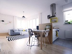 Mała otwarta biała kuchnia jednorzędowa w aneksie z oknem, styl skandynawski - zdjęcie od Devangari Design