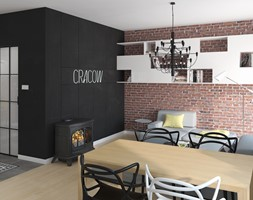 KAWALERKA 35M² – KRAKÓW - Mały szary czarny salon z jadalnią, styl eklektyczny - zdjęcie od Devangari Design