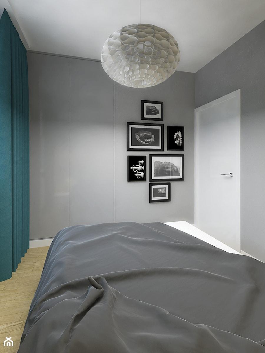 DOM 73M² – LUBOŃ K.POZNANIA - Mała szara sypialnia małżeńska, styl skandynawski - zdjęcie od Devangari Design