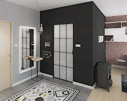 KAWALERKA 35M² – KRAKÓW - Średni czarny brązowy szary hol / przedpokój, styl eklektyczny - zdjęcie od Devangari Design
