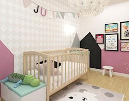 DOM 73M² – LUBOŃ K.POZNANIA - Średni beżowy różowy pokój dziecka dla dziewczynki dla niemowlaka, styl skandynawski - zdjęcie od Devangari Design