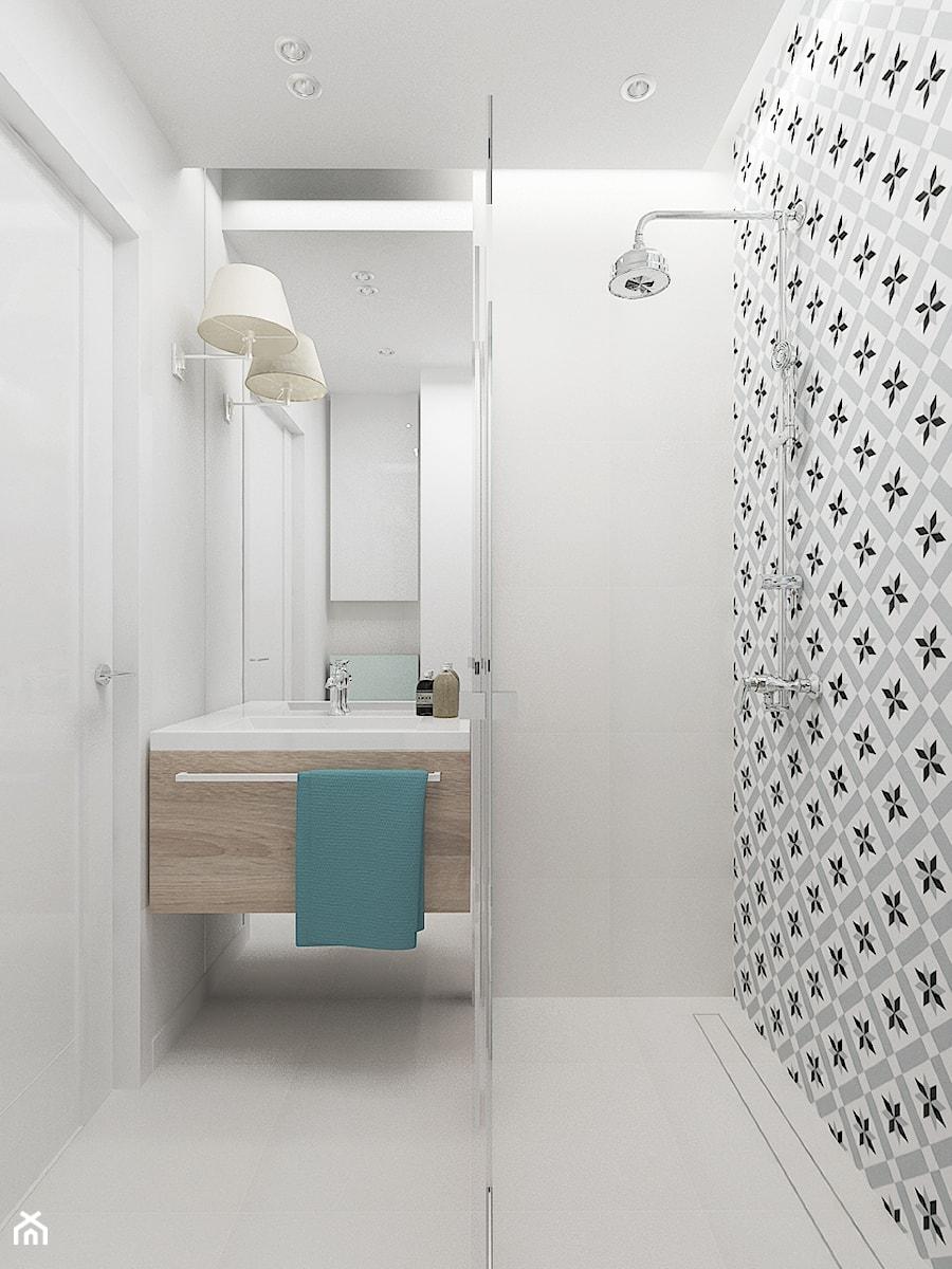 KAWALERKA 32M² – KAMIONEK - Mała biała łazienka w bloku w domu jednorodzinnym bez okna, styl rustykalny - zdjęcie od Devangari Design