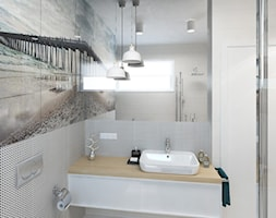 DOM 73M² – LUBOŃ K.POZNANIA - Mała średnia łazienka w bloku w domu jednorodzinnym z oknem, styl skandynawski - zdjęcie od Devangari Design