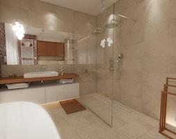Wizualizacje | Mieszkanie 100m² Wilanów - Duża beżowa czerwona łazienka w domu jednorodzinnym jako salon kąpielowy, styl nowoczesny - zdjęcie od Devangari Design