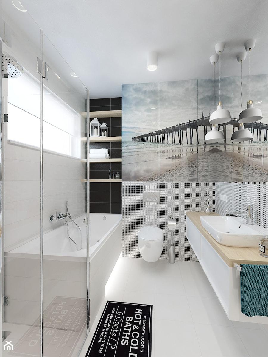 DOM 73M² – LUBOŃ K.POZNANIA - Średnia biała szara łazienka na poddaszu w bloku w domu jednorodzinnym bez okna, styl skandynawski - zdjęcie od Devangari Design