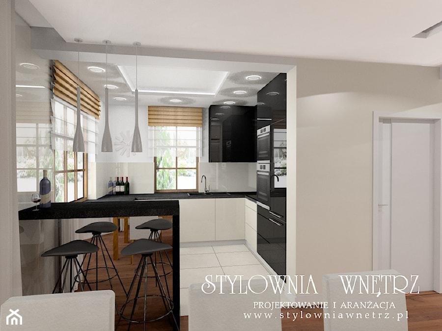 Dom W Ciepłych Kolorach średnia Otwarta Biała Kuchnia W