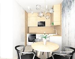 mieszkanie do wynajęcia - Mała zamknięta biała kuchnia w kształcie litery l z oknem, styl nowoczesn ... - zdjęcie od Stylownia Wnętrz Projektownie i aranżacja wnętrz - Homebook