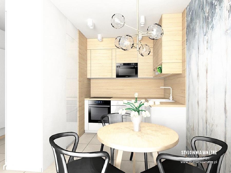mieszkanie do wynajęcia - Mała zamknięta biała kuchnia w kształcie litery l z oknem, styl nowoczesny - zdjęcie od Stylownia Wnętrz Projektownie i aranżacja wnętrz