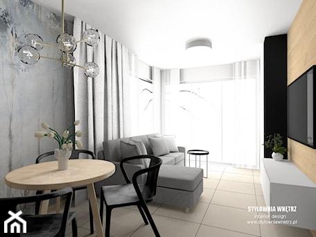 Aranżacje wnętrz - Salon: mieszkanie do wynajęcia - Średni szary czarny salon z jadalnią, styl nowoczesny - Stylownia Wnętrz Projektownie i aranżacja wnętrz. Przeglądaj, dodawaj i zapisuj najlepsze zdjęcia, pomysły i inspiracje designerskie. W bazie mamy już prawie milion fotografii!
