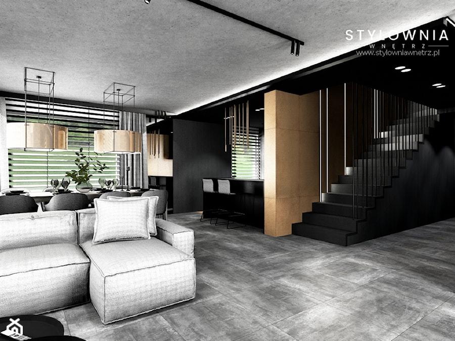 ciemne schody ze stalową balustradą - zdjęcie od Stylownia Wnętrz Projektownie i aranżacja wnętrz