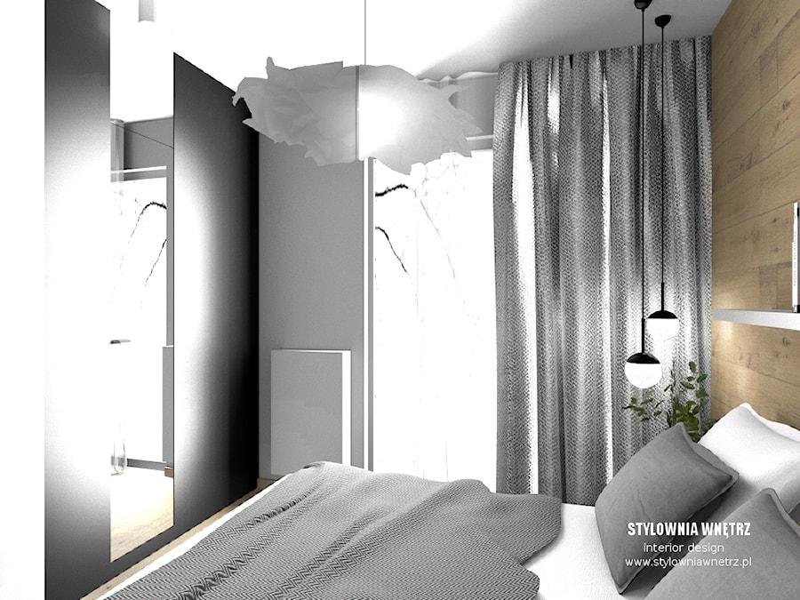 mieszkanie do wynajęcia - Mała szara czarna sypialnia małżeńska, styl nowoczesny - zdjęcie od Stylownia Wnętrz Projektownie i aranżacja wnętrz