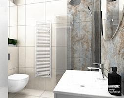 mieszkanie do wynajęcia - Mała szara łazienka w bloku w domu jednorodzinnym bez okna, styl nowoczes ... - zdjęcie od Stylownia Wnętrz Projektownie i aranżacja wnętrz - Homebook