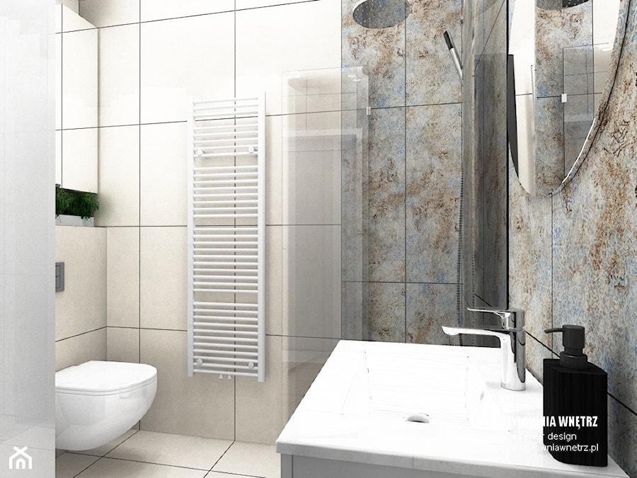 mieszkanie do wynajęcia - Mała szara łazienka w bloku w domu jednorodzinnym bez okna, styl nowoczes ... - zdjęcie od Stylownia Wnętrz Projektownie i aranżacja wnętrz